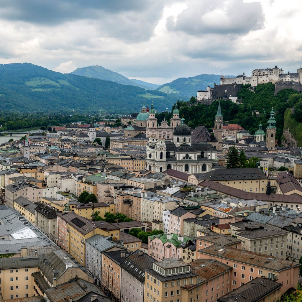 Drone photo overlooking Salzburg, Germany
