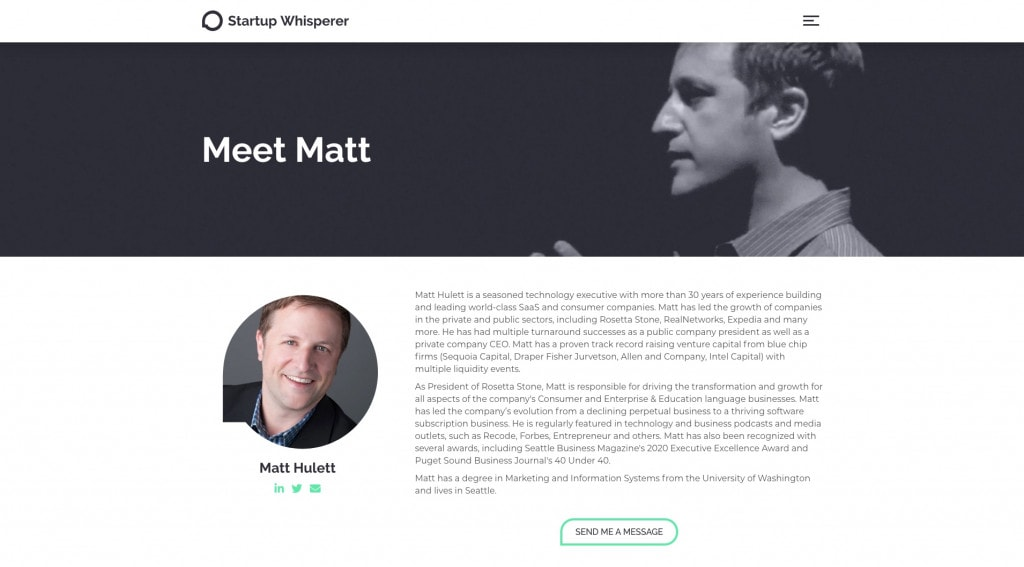 Startup Whisperer - About Page