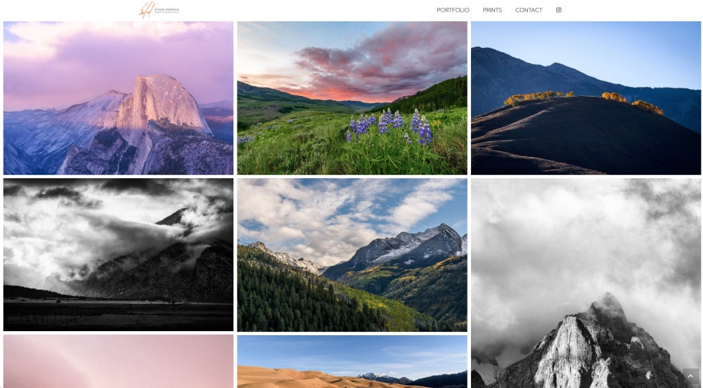 Long scrolling galleries with even grid spacing for symmetry